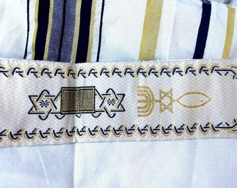 "Prayer Shawl messianic Christian  Jewish Tallit Dark Blue Hebrew and English 72""*22"" Talith with Bag NEW"