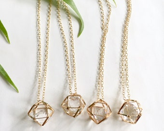 Gold Hexagon Geometric Charm Pendant Necklace, 14kt Gold Fill