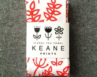 SALE! Floral Screen Printed Tea towel