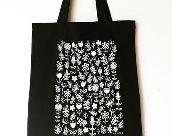 SALE! Black Screen Printed Floral Tote Bag