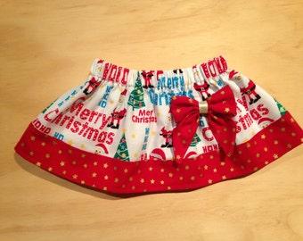 Christmas skirt with bow - little girls skirt - twirly skirt - baby girls skirt - puffy christmas skirt