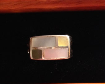 Beautiful sterling silver inlay ring size 7 3/4