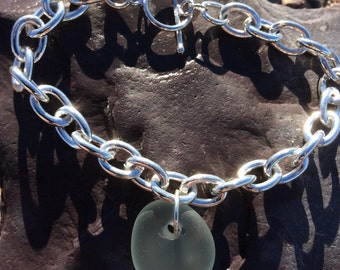 Scottish Sea Glass and sterling silver toggle bracelet