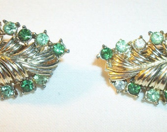 Vintage CORO Signed Emerald and Peridot Green Glass Clip Earrings! Twinkling!