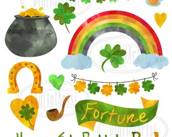 Watercolor St. Patrick's Day Clipart - Cute Shamrock Download - Instant Download - St Patty's Day Graphics - Clovers - Rainbows - Beer