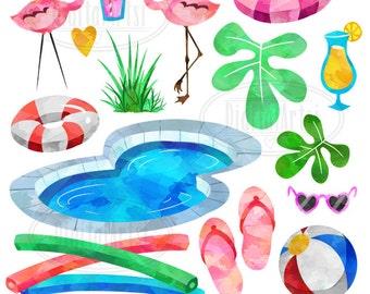 Pool Party Clipart - Watercolor Flamingo Download - Instant Download - Watercolor Pool Items - Beach Ball - Noodle - Cocktails