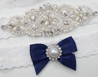 Bridal Garter Set, Wedding Garter, Bridal Garter set, Blue Wedding Garter, Crystal Pearl Garter