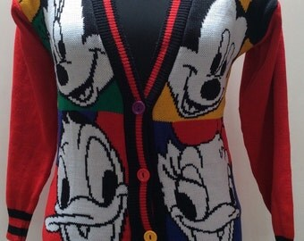 1980s WALT DISNEY Mickey Mouse Donald Duck Vintage CARDIGAN