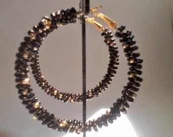 Large Black Hoop Earrings, Handmade Black and Gold Bead Hoop Earrings