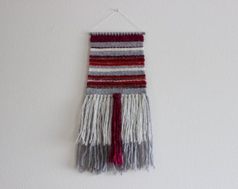 Handwoven Wall Hanging | Grey, Burgundy, Cream