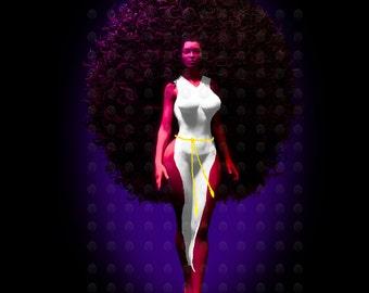 "Black Art Black Woman Art African American Art ""New Medusa"" print by African American Artist Eric Austin"
