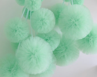 12  tulle pom pom set / wedding party decorations pom poms - your colors - value set