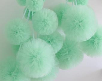 8  tulle pom pom set / wedding party decorations pom poms - your colors - value set