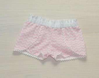 White & Pink Chevron Coachella Shorts