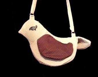 Bird Bag by Mars. - 4 Pocket Purse or Shoulder Bag, Adjustable Strap