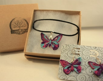 Free standing lace butterfly necklace & earring combo