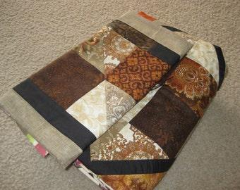 Autumn Brown Lattice Throw & Table Runner Set.