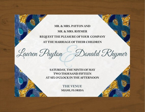African Wedding Invitation: Printable African Inspired Wedding Invitation By Khari