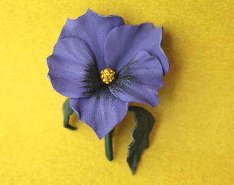 Leather pansy, leather flower brooch, flower brooch, flower pin, leather jewelry