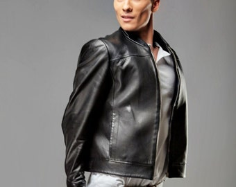 Man leather jacket, black leather jacket, 100% leather jacket, slim fit jacket, stylish jacket, designer leather jacket by Olena Molchanova.