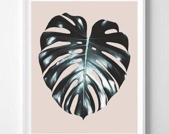 Monstera print, Tropical, Pink, Minimalist, Modern art, Minimal art, Wall decor, Digital art, Printable, Digital Instant Download 16x20