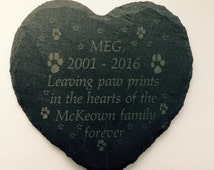 Remembrance rustic Pawprints slate heart grave marker. Any wording. Memorial for your pet.