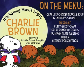 Great Pumpkin Charlie Brown Halloween Theme Family Movie Night Printable