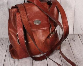 Vintage Leather Handbag/  brown leather bag/ 90s  Brown Leather Bag/ Double Strap/ Brown Shoulder bag/ Handbag PRINCE