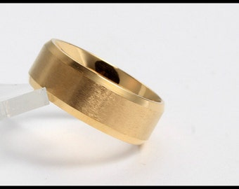 8MM Gold Stainless Steel Ring Wedding Band
