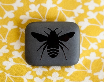 Handmade bumble bee brooch ... fused glass with an elegant etched design ...  insect jewellery