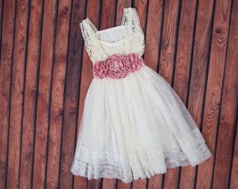 Cream Flower Girl Dress, Tulle, Sash Belt set, Lace dress, Ivory Cream Wedding, Teen SizesBoho Chic, tutu dress, Photography Prop, Country