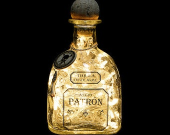 Patron Silver Tequila Upcycled LED Bottle Lamp Light by JayEngrave