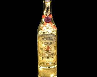 Portobello Road London Gin Upcycled Warm White LED Bottle Lamp Light by JayEngrave