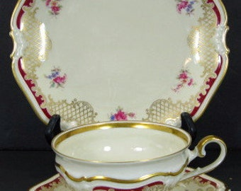 LHS Hutschenreuther Bavaria Scalloped 3pc Luncheon Plate Cup Saucer Set Red