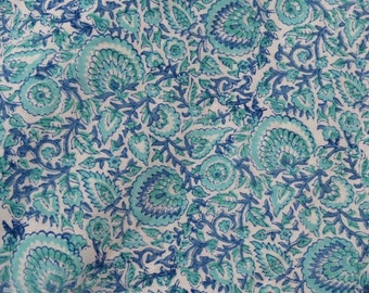 Blue green floral rayon fabric