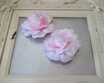 Pink and White Big Flower 2 Head Pin, Bridesmade Hair Clip, Bridel Hair Accessories