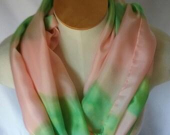 Peach and Green Silk Scarf, Silk Scarf, Peach Scarf, Green Scarf, Summer Scarf, Spring Scarf, Peach and Green Scarf, Peach Silk Scarf