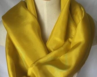 Golden Silk Scarf with Light Green Details, Gold Scarf, Gold Silk Scarf, Summer Scarf, Spring Scarf, Light Green Scarf