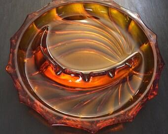 Amber Glass Ashtray; Amber Glass; Mid Century Ashtray