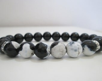 Onyx and white agate and black, mens bracelet, bracelet bracelet style Greek, gift, gift for man Bracelet Onyx, agate bracelet