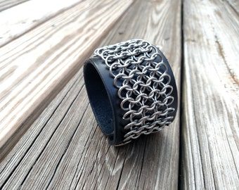 Armored Leather and Chainmaille Bracer Cuff
