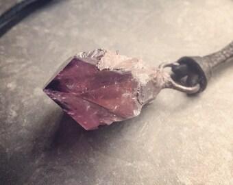 Amethyst Necklace | Raw Amethyst Necklace | Blackened Copper