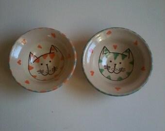 Cat dishes, teabag holder, cat bowls,animal pottery, whimsical pottery, cat pottery, handmade cat bowls, cat ceramics, snack bowls