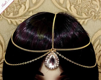 Gold headpiece Indian crystal Matha Patti gold headwear bridesmaid Tikka Head Chain hair Jewelry hijabpin Bridal jhumer Prom Wedding jewelry