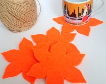 FELT COASTER/SETOF 4/flower felt coaster/flowers/Cute Gift/wool felt/wool felt coaster/felt coasters/Drink Coasters/orange coaster/gift/felt