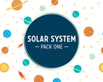 INSTANT DOWNLOAD! Solar System Pack One: 5 Digital Scrapbook Papers