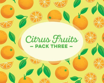 INSTANT DOWNLOAD! Citrus Fruit Pack Three: 5 Digital Scrapbook Papers