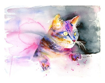 Fine art print of a cat, watercolor print of a cat