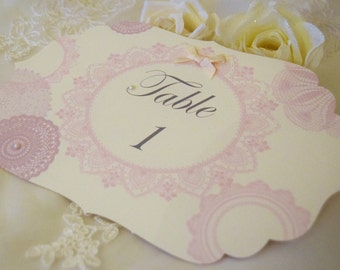 Weddding Table Numbers / Vintage Doily / Tea Party Wedding