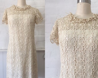 1960's Cream Guipure Lace Dress
